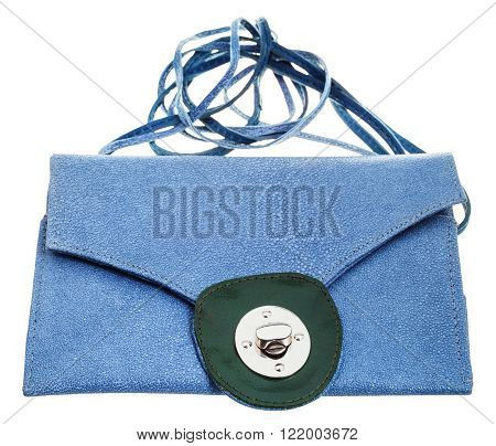 closed blue clutch bag from natural stingray leather isolated on white background