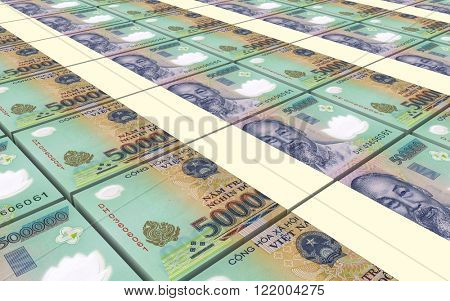Vietnamese dong bills stacks background. Computer generated 3D photo rendering.