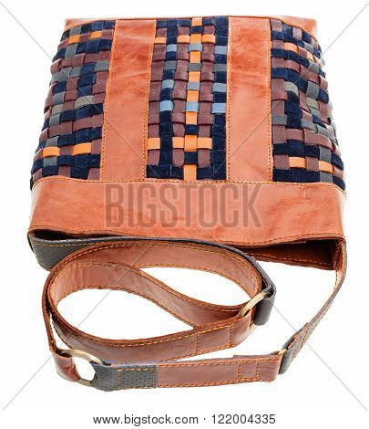 Cross-body Handbag From Intertwined Leather Strips