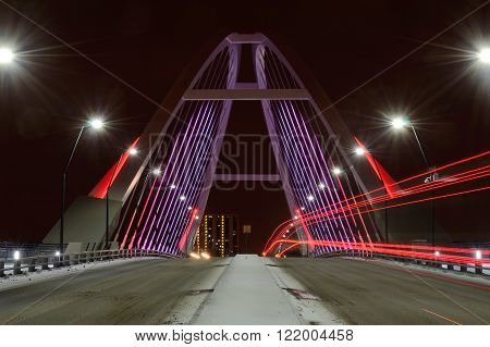 Lowry Avenue Bridge in Minneapolis Minnesota at Night With Taillights
