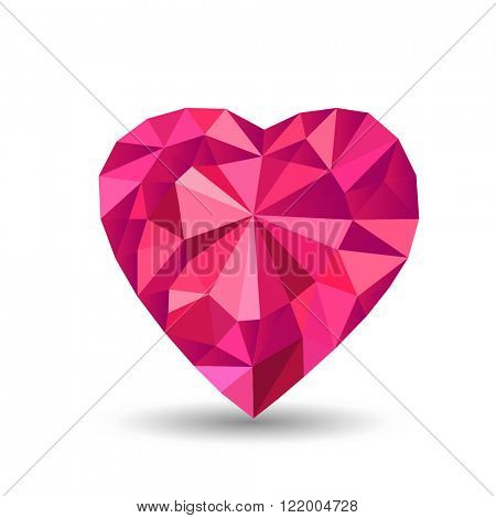 vector red heart with polyhedron isolated background