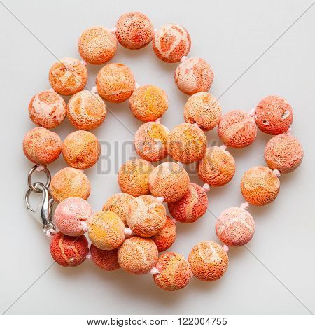 Tangled Necklace From Orange Sponge Coral Beads