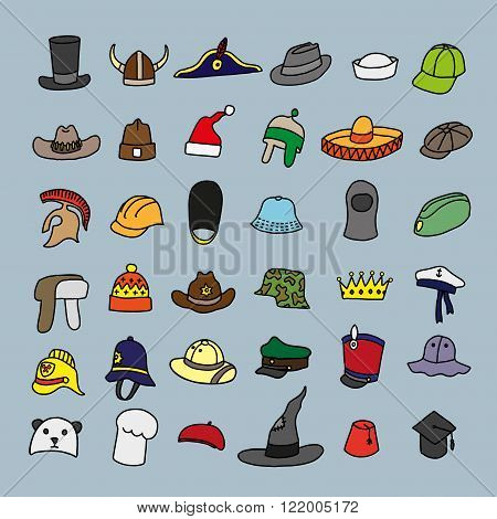 Set of different hats in doodle style. Vector