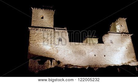 Castle of Diosgyor at night in Miskolc, Northern Hungary ** Note: Visible grain at 100%, best at smaller sizes
