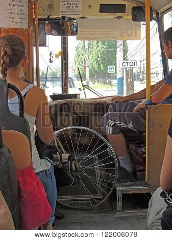 VORONEZH, RUSSIA - June 23, 2015: In the passenger compartment of the city bus. June 23, 2015 in Voronezh, Russia