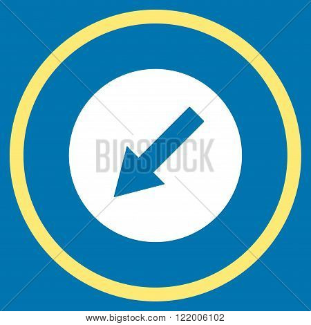 Down-Left Rounded Arrow vector icon. Style is bicolor flat rounded iconic symbol, down-left rounded arrow icon is drawn with yellow and white colors on a blue background.