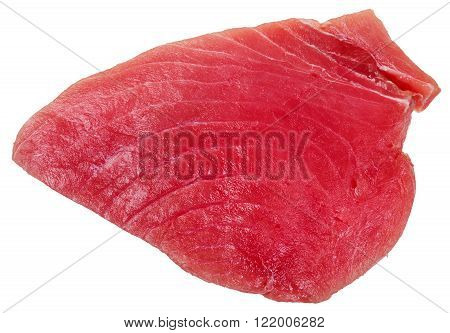 Above View Of Piece Of Raw Tuna Fish Meat Isolated