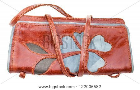 Little Brown Handbag Decorated By Flower Applique