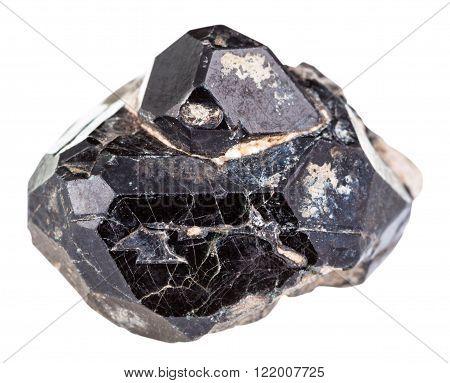 Black Spinel Mineral Gem Stone On Diopside Crystals