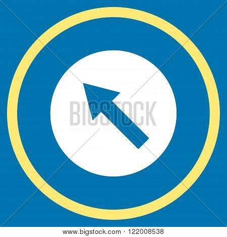 Up-Left Rounded Arrow vector icon. Style is bicolor flat rounded iconic symbol, up-left rounded arrow icon is drawn with yellow and white colors on a blue background.