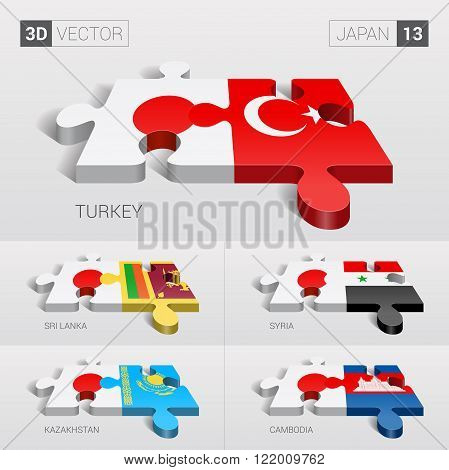 Japan and Turkey, Sri Lanka, Syria, Kazakhstan, Cambodia Flag. 3d vector puzzle. Set 13.