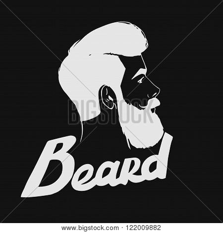 Vector hipster Barber shop logo. Bearded man's head.