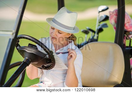 Girl on golf
