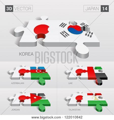 Japan and Korea, Azerbaijan, UAE, Jordan, Tajikistan Flag. 3d vector puzzle. Set 14.