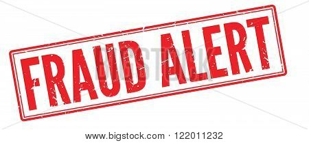 Fraud Alert red rubber stamp on white. Print, impress, overprint.