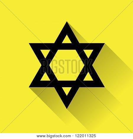 Star of David icon for web flat design on yellow background.