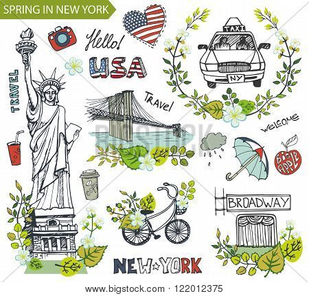 Spring in New York, USA, floral decor.Vector Doodles.American travel symbols in hand drawn sketch, sign of landmark, lettering.Vintage Illustration, background. Brookline bridge, Statue Of Liberty, taxi.