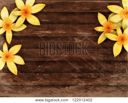 A digitally created wooden plank background texture with yellow flowers.