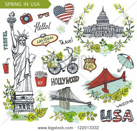 Spring in USA, floral decor.Vector Doodles.American travel symbols in hand drawn sketch, sign of landmark, lettering.Vintage Illustration, background. Golden gate, Brookline bridge, Statue Of Liberty, Capitol