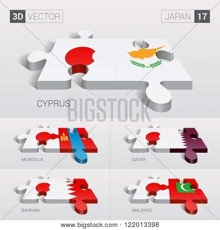 Japan and Cyprus, Mongolia, Qatar, Bahrain, Maldives Flag. 3d vector puzzle. Set 17.
