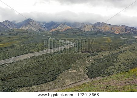Colorful Mountains in the Clouds at Polychrome Pass in Denali National Park in Alaska