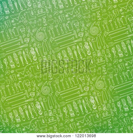 Spring garden pattern backdrop, blurred green background.Hand drawn vector sketch elements:flowers, bulbos, garden tool, boarding equipment.Gardening Outline spring symbols, vintage vector