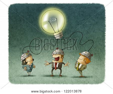Two men and woman connecting with lighted bulb by cord.