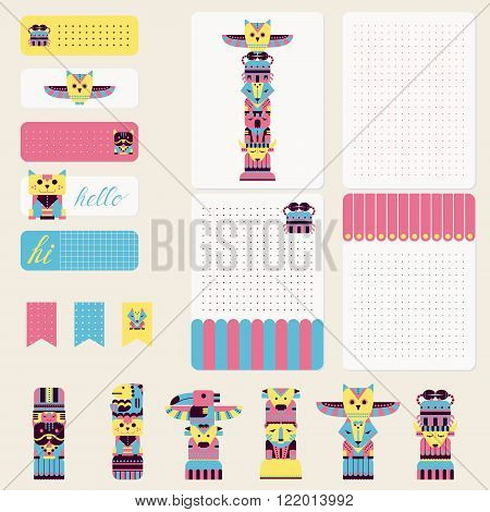 Cute totem animals in pastel pink blue and yellow colors. Stickers, printable card for organized planner. Template for planner, scrapbooking, wrapping, wedding invitation, notebooks, diary.