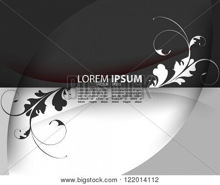 black and white foliage silhouette elements eps10 vector background