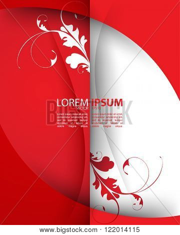 red and white foliage silhouette elements eps10 vector background