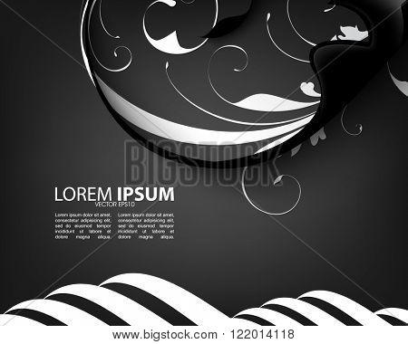 abstract dark elegant foliage flat eps10 vector illustration