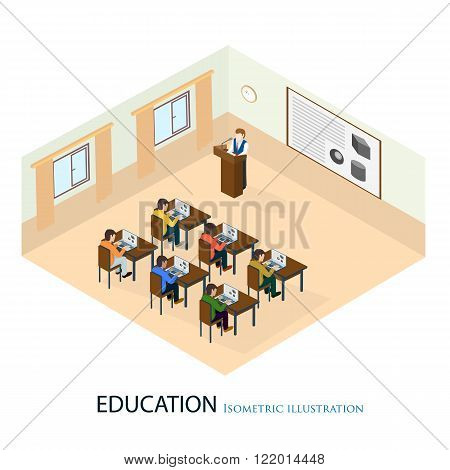 The professor gave a lecture on the subject of fine art standing at the department. Isometric vector illustration.