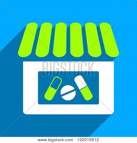 Drugstore long shadow vector icon. Style is a flat drugstore iconic symbol on a blue square background.
