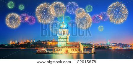 Beautiful fireworks near Maiden Tower Istanbul, Turkey