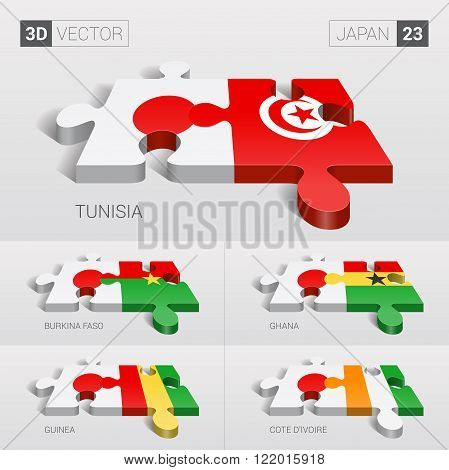 Japan and Tunisia, Burkina Faso, Ghana, Guinea, Cote d'Ivoire Flag. 3d vector puzzle. Set 23.