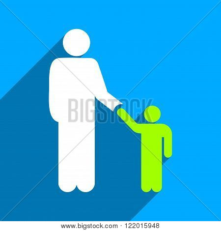 Father With Son long shadow vector icon. Style is a flat father with son iconic symbol on a blue square background.