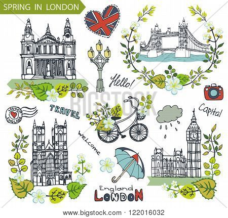 Spring in London.Famous landmarks with green leaves wreath, flowers compositions.Vintage doodle sketchy vector.Big Ben, Tower Bridge, St. Peter cathedral, lettering, bike and umbrella.Illustration.