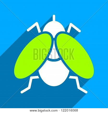 Fly long shadow vector icon. Style is a flat fly iconic symbol on a blue square background.