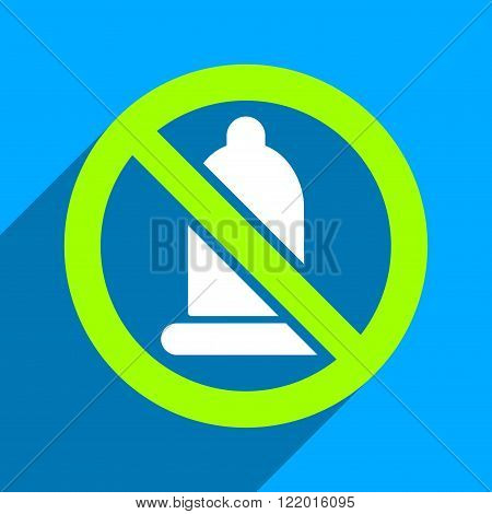 Forbidden Condom long shadow vector icon. Style is a flat forbidden condom iconic symbol on a blue square background.