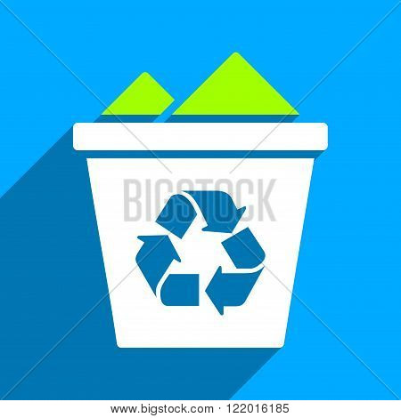 Full Recycle Bin long shadow vector icon. Style is a flat full recycle bin iconic symbol on a blue square background.