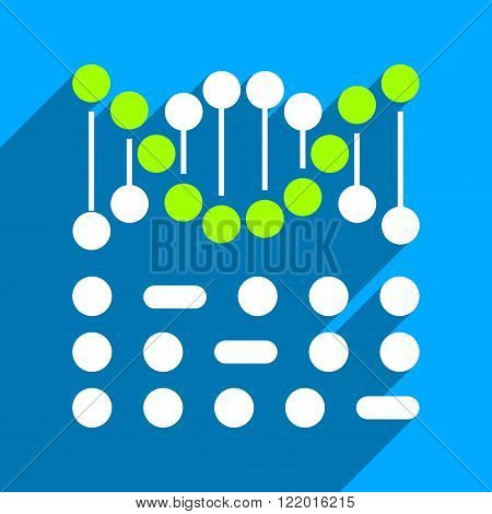 Genetic Code long shadow vector icon. Style is a flat genetic code iconic symbol on a blue square background.