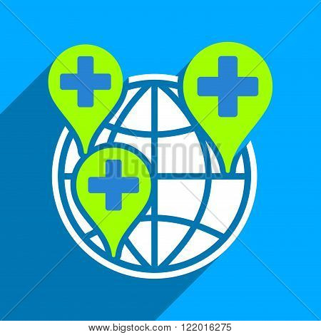 Global Clinic Company long shadow vector icon. Style is a flat global clinic company iconic symbol on a blue square background.