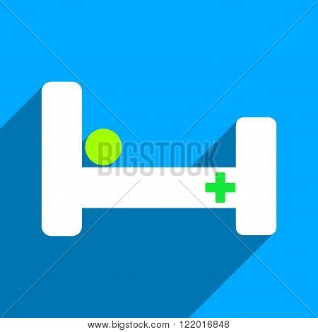 Hospital Bed long shadow vector icon. Style is a flat hospital bed iconic symbol on a blue square background.