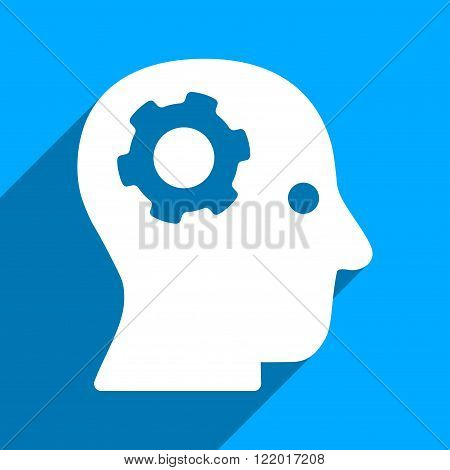 Intellect Mechanism long shadow vector icon. Style is a flat intellect mechanism iconic symbol on a blue square background.