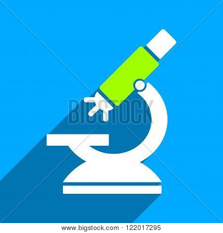 Labs Microscope long shadow vector icon. Style is a flat labs microscope iconic symbol on a blue square background.