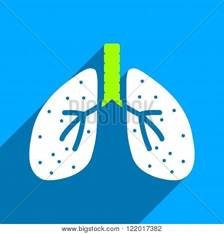 Lungs long shadow vector icon. Style is a flat lungs iconic symbol on a blue square background.