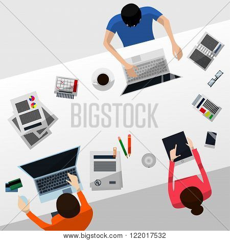 Cool Vector Advanced Gradient Grey Desktop with a Team Working on Their Computers and a Tablet; Paperwork Smartphone Calendar Glasses Credit Cards and Coffee in Flat Design