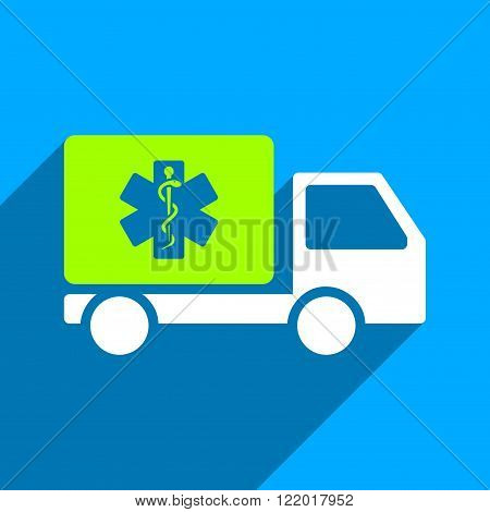 Medical Shipment long shadow vector icon. Style is a flat medical shipment iconic symbol on a blue square background.