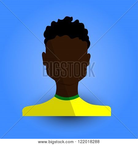 Cool and Artistic Avatar in Flat Design with a African or Black Brazilian Brunette Young Guy and Awesome Afro for Business App and Web Design