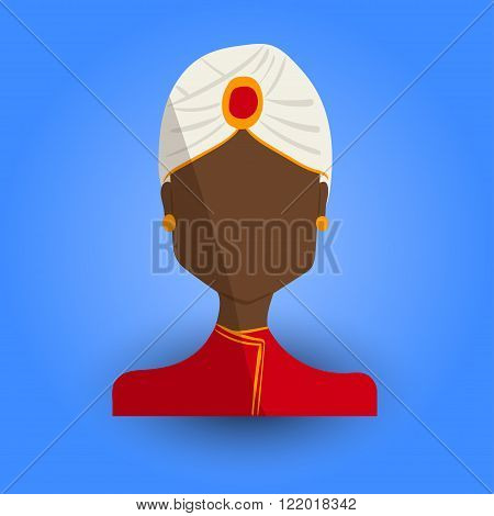Cool and Artistic Avatar in Flat Design with a Black Indian Woman and Traditional Religious Ethnic Clothes for Business App and Web Design